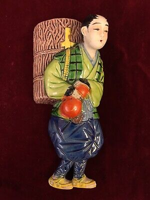 Vintage Pottery Wall Pocket Japanese Man Traditional Clothing Mid 20th Century