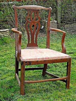 ANTIQUE SOLID WOODEN ARM CHAIR IN THE CHIPPENDALE STYLE c1780 NICE CONDITION