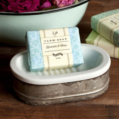 Tinwork and Porcelain Soap Dish Farmhouse Style Cottage Chic