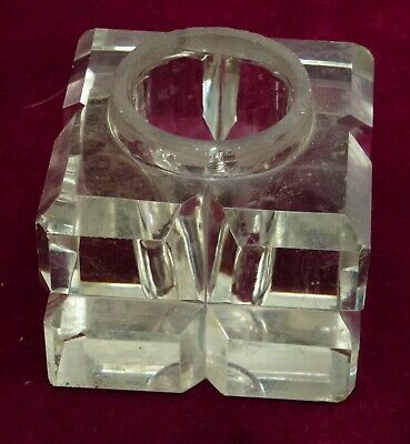 Antique Square Glass Inkwell For Desk Stand Or Writing Slope Box Replacement