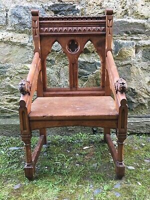 Fine Carved Neo Gothic Cathedra Library Desk English Church Chapel Throne Chair