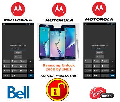 Bell / Virgin Unlock Code For Moto Phone Any Canadian Model