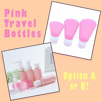 Variety Of Pink Empty Plastic Travel Size Cosmetic Lotion & Perfume Bottle Set