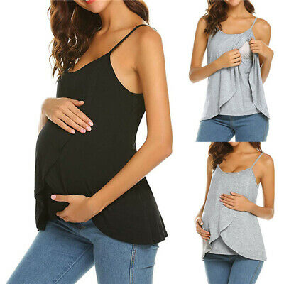 Comfy Maternity Breastfeeding Top Women's Sling Sleeveless Summer Top Blouse LH