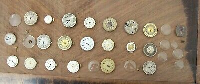 21 vintage mechanical watch movements. S&Co Crown Swiss, Audax, Tevennes, Majex+