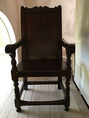 Rare Carved Early 18th Century Mahogany Wainscot Throne Joined Open Arm Chair