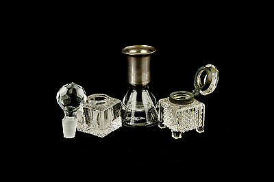 Antique Vintage Inkwell Lot Of 5 Small Glass Crystal Pieces