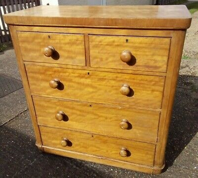 Art Deco Two over Three Chest of Drawers Satin Birch? c1910?