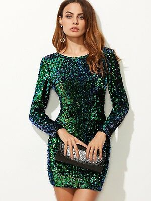 24bf031c9a Shein V Back Long Sleeve Stretch Sequin Sparckly Bodycon Party Dress Size S