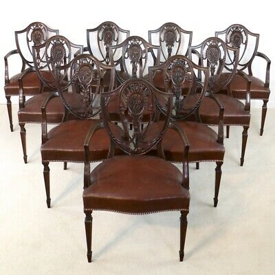 Set 10 Antique Victorian Shield Back Hepplewhite Carver Dining Chairs /Armchairs