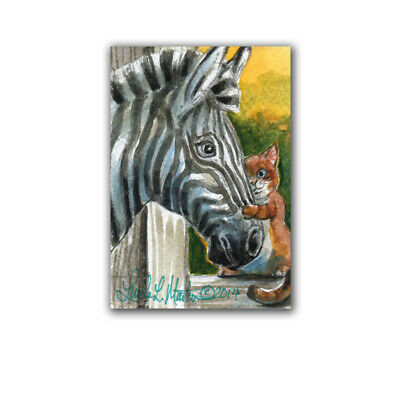 Adorable Sweet Zebra Orange Cat Friend Watercolor ACEO LLMartin Kitten