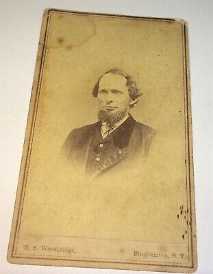 Rare Antique Victorian American ID'd Old Frank Holmes! Binghamton, NY CDV Photo!