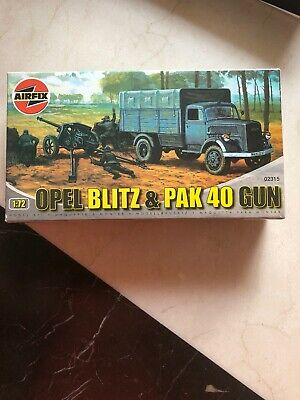 Vintage Airfix Ho/Oo Scale Ww2 German Opel Blitz  Truck + Pak 40 Gun Model Kit !