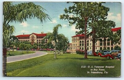 Postcard FL 1950 St. Petersburg US Veterans Hospital Bay Pines Linen Old Cars G8