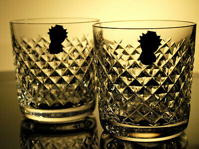 Waterford Crystal Alana Tumbler Old Fashioned 9 oz Pair Vintage Mint