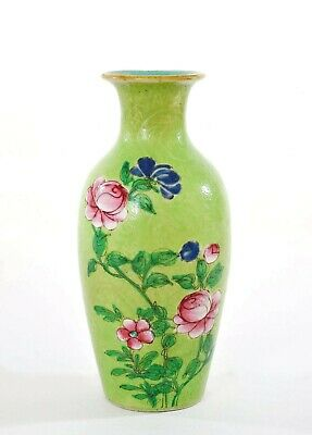 1900's Chinese Famille Rose Green Sgraffiato Ground Turquoise Porcelain Vase