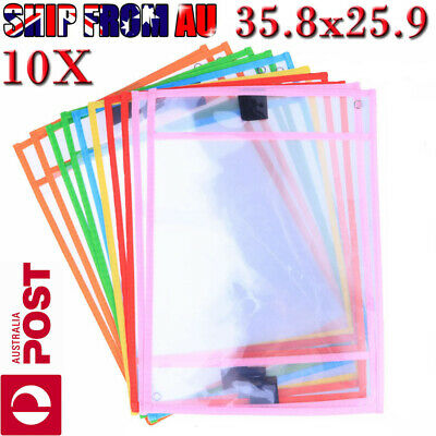 10X Dry Erase Pocket Sleeves Write and Wipe Pockets Paper Saver Tool for Kids O