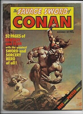 Savage Sword of Conan #1 (UK Vol 2) : Fine+ 6.5 : Marvel Magazine, Colour Poster