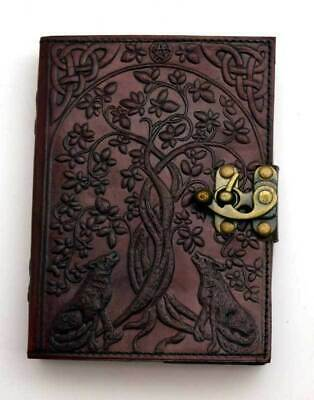 """Wolf & Tree of Life Journal w/ Latch 5"""" x 7"""" Leather Book of Shadows Diary Log"""
