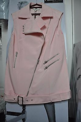 "Biker Mini Dress/Vest/Coat Dust Pink ""Cameo"",Decorate Zips Thick Fabric M"