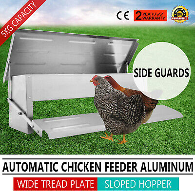 Automatic Chicken Feeder Treadle Self Opening Aluminium Feed Chook Poultry 5kg