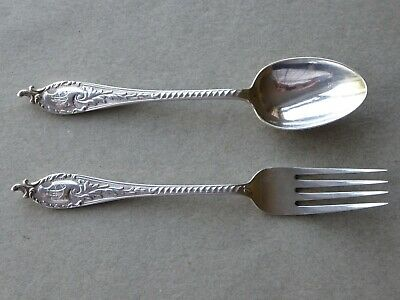 Antique Sterling Silver Child's Spoon and Fork Christening Set Sheffield 1907