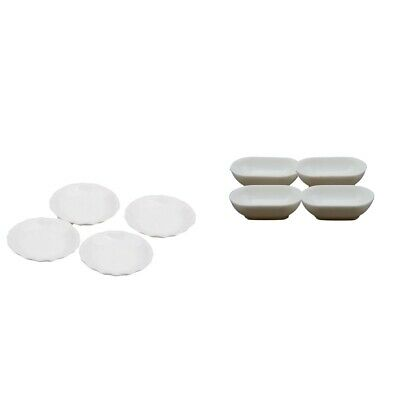8pcs 1:12 Dollhouse Miniatures Dining Ware Round Dishes Plate Tableware Kit