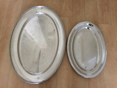 Set Of 2 Large Heavy Duty Stainless Steel Serving Tray Catering Restaurant