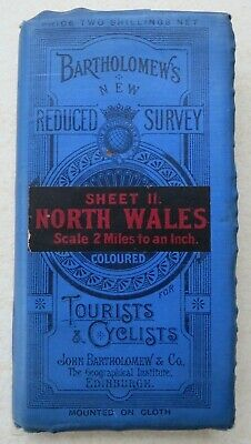 """c1911: BARTHOLOMEW'S MAP: NORTH WALES - Sheet 11 of """"Half Inch To Mile"""" series"""