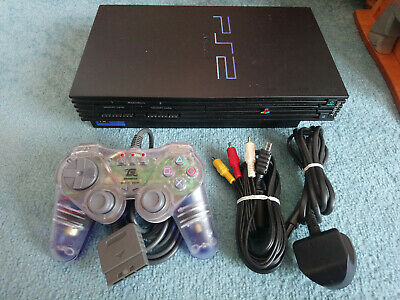 Sony PlayStation 2 / PS2 Black Console, pad and cables, good working order