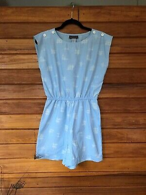Vintage 1980s Playsuit Pale Blue Size Small