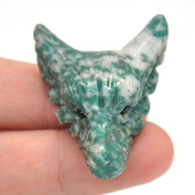 """1.6"""" Wolf Head Pendant China Jade Crystal Gemstone Hand Carved Stone Necklace"""