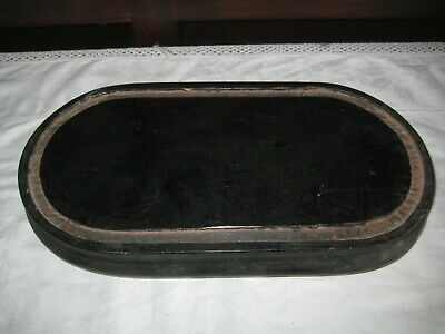 Antique Footed Ebonised Wooden Oval Dome Base