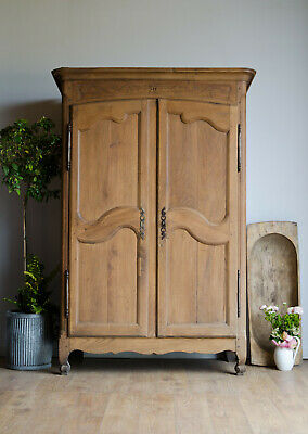 French Antique Late 18C Oak Knockdown Armoire Wardrobe with Hanging Rail