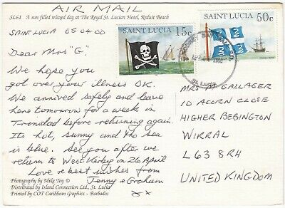 I4017 Rodney Bay Mall CDS on postcard to UK, 2000; 50c & 10c flags & ships