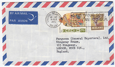 K2078 Malawi commercial air cover to UK, 1973; 3T Christmas and 5T Puku stamps