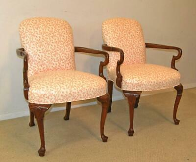 Pair Harden Goose Neck Arm Chairs Cherry Frame Carved Shell Detail