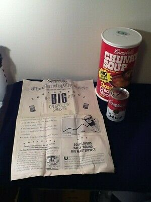 2 Campbell's Soup Banks w/ RARE NEWSPAPER 1st Edition CHUNKY & 125th TOMATO