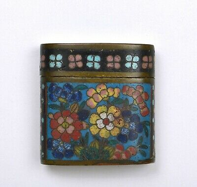 1920's Chinese Cloisonne Enamel Opium Box with Flowers