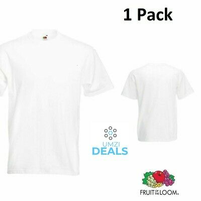 1 Fruit Of The Loom White Mens Cotton T-Shirts Wholesale S-5Xl Budget Tshirts