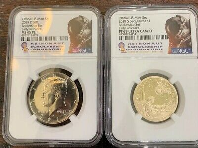 2019 D 50c Kennedy NGC MS 65 PL + Sacajawea 69 ROCKET SHIP SET EARLY Releases