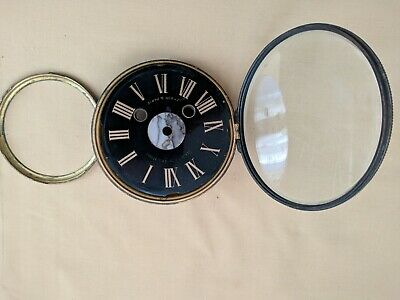 Victorian  stone clock dial with bezel and bevelled glass for spares