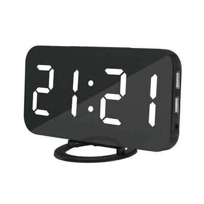 Digital Alarm Clock LED Display With 2 USB Charging Port Home Office White