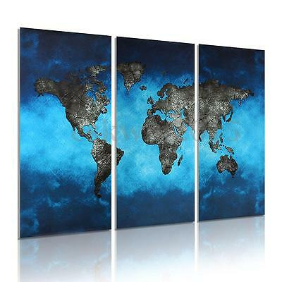 3Pcs Blue World Map Picture Canvas Painting Modern Art Wall Home Decor Print !