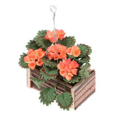 1/12 Clay Plants Basket Hanging Flowers for Dolls House Fairy Garden Decor