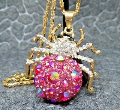 Hot Pink AB Spider Pendant Long Gold Necklace Party Crystal Rhinestone