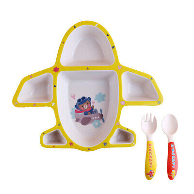 Baby Divided Plates Dishes Tray Spoon Fork Set for Kids , Dinnerware Yellow