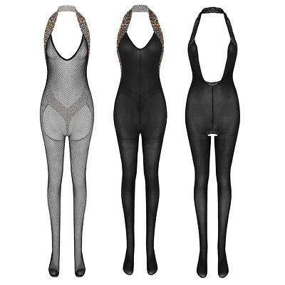Women's Sheer Bodysuit Backless Crotchless Mesh Bodystocking Lingerie Clubwear