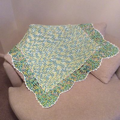Tunisian Crochet Baby Blanket Throw Shawl In Turquoise And Lime