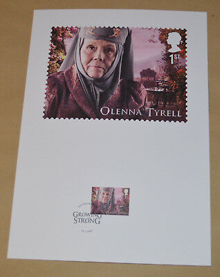 Game of Thrones Royal Mail A4 Souvenir Print Stamp card - Olenna Tyrell